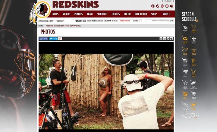 Capture d'écran d'une galerie photo du voyage des meneuses de claque des Redskins au Costa Rica en 2013.