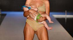 Elle a défilé tout en allaitant son bébé de 5