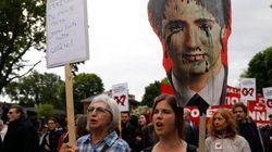 Une première manifestation en marge du G7 à