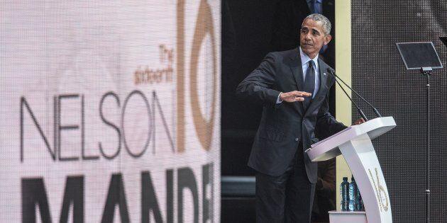 Barack Obama a pris la parole pour le centenaire de la naissance de Nelson Mandela, à Johannesbourg en...