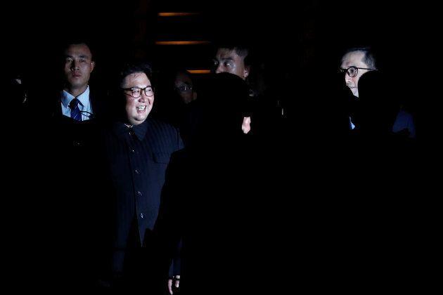 Kim Jong-un alors qu'il visite le parc Merlion à