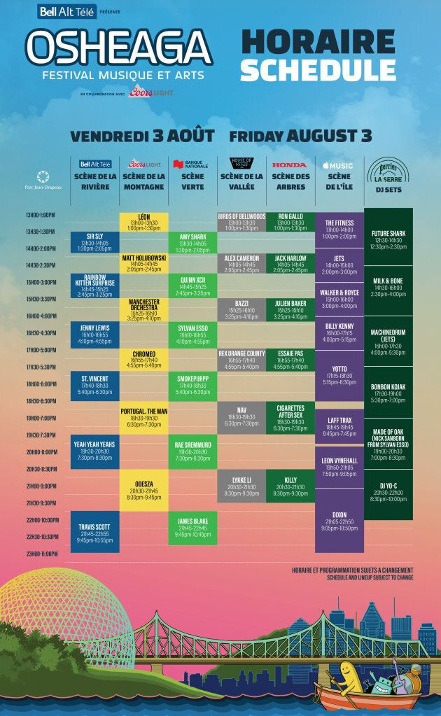On connaît enfin l'horaire d'Osheaga