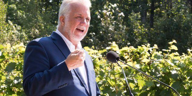 Le chef libéral Philippe Couillard a livré un discours devant les candidats de sa formation, lundi, à...