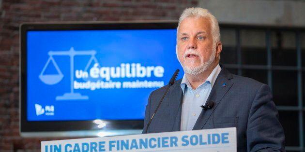 Philippe Couillard au dévoilement du cadre financier du PLQ, mercredi