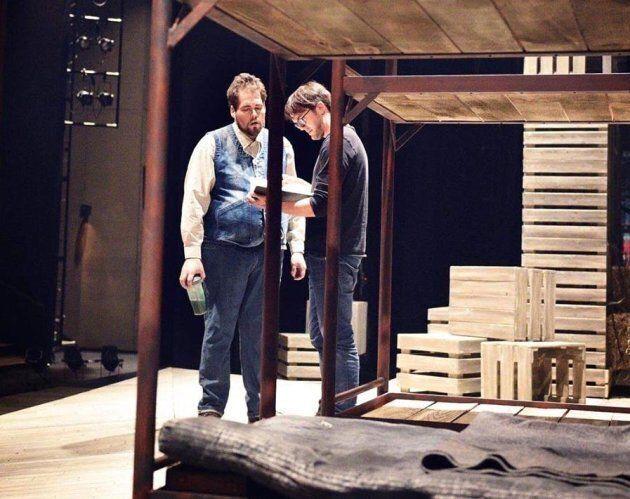 Vincent-Guillaume Otis et Guillaume Cyr durant les répétitions de la pièce «Des souris et des