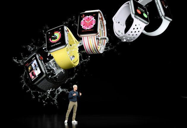 Tim Cook, PDG d'Apple, lors de la présentation des nouveaux modèles d'Apple