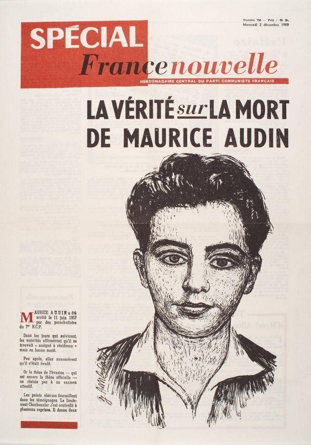 La une du France Nouvelle lors de la publication d'un dossier spécial sur la mort de Maurice Audin, le...