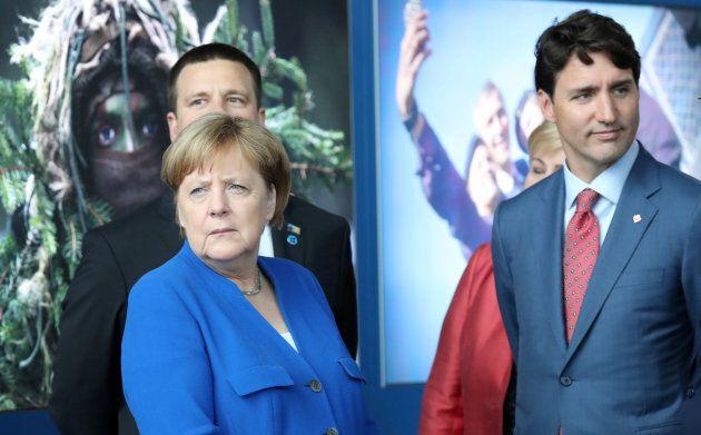 La chancelière allemande Angela Merkel et le premier ministre du Canada, Justin