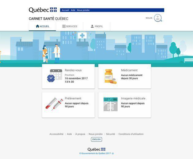 Un aperçu de la page d'accueil du Carnet santé