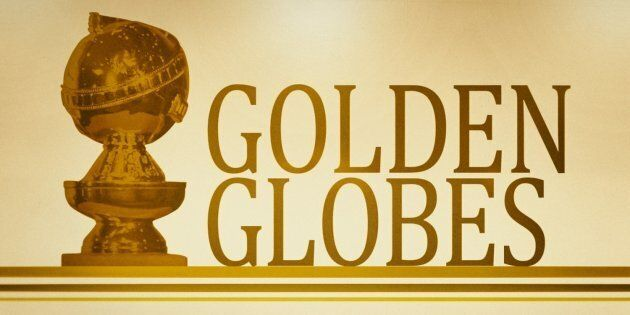 Golden Globe Awards statuette, on texture with GOLDEN GLOBES lettering, finished