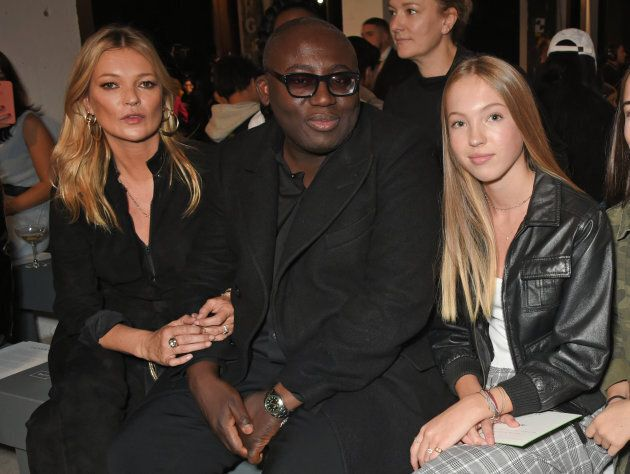 LONDON, ENGLAND - SEPTEMBER 17:  (L to R) Kate Moss, Edward Enninful and Lila Grace Moss Hack attend Topshop's London Fashion Week show on September 17, 2017 in London, England.  (Photo by David M. Benett/Dave Benett/Getty Images for TOPSHOP)