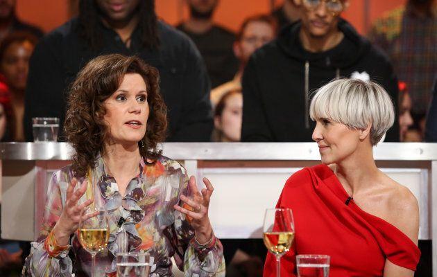 Catherine Perrin et Pénélope McQuade à «Tout le monde en parle» le 3 mars