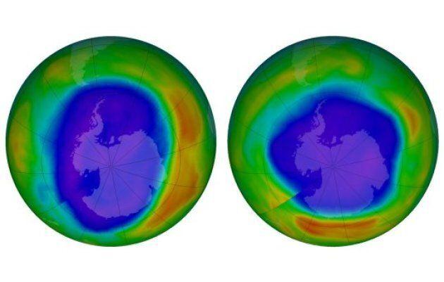La Nasa a rendu publiques des images montrant la couche d'ozone au-dessus de l'Antarctique en septembre...