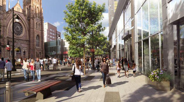 Une maquette du nouveau concept d'aménagement de la rue Sainte-Catherine, à