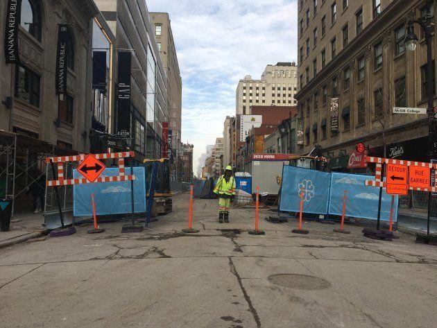 Les commerçants affectés par le vaste chantier de construction entamé sur la rue Sainte-Catherine l'hiver...