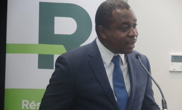 Macky Tall, président-directeur général de CDPQ Infra, lors de la présentation du modèle final des voitures du Réseau express métropolitain (REM). (crédit: Olivier Robichaud)