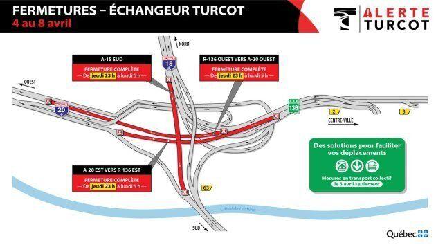 Échangeur Turcot: fermetures importantes à compter de jeudi