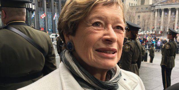 Marie Malavoy, ex-députée de Taillon, lors des funérailles d'État de l'ancien premier ministre du Québec...
