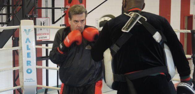 Denis Coderre lors d'un entraînement de boxe avec Ali Nestor.