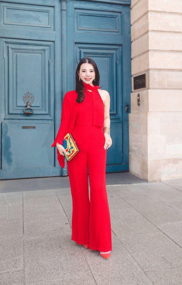 PARIS, FRANCE - SEPTEMBER 30: Fashion investor Wendy Yu arrives at Valentino fashion show during Paris...