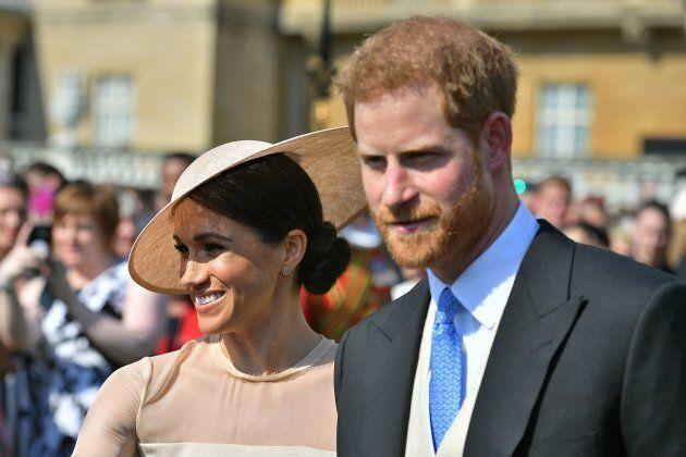 Le duc et la duchesse de Sussex lors du garden party pour le 70e anniversaire du prince de Galles au...