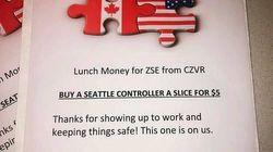 Des contrôleurs aériens canadiens achètent la pizza pour leurs collègues