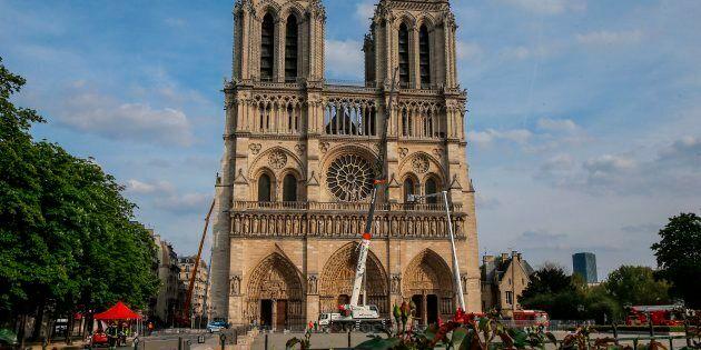 Cette photo prise le 18 avril 2019 montre la cathédrale Notre-Dame de Paris trois jours après l'incendie...