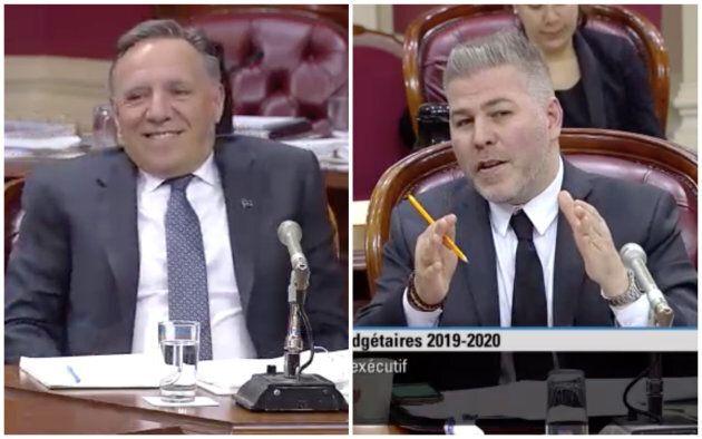 François Legault et Pascal Bérubé en commission parlementaire.