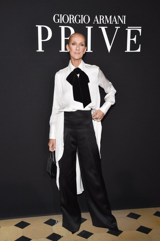 PARIS, FRANCE - JANUARY 22: Celine Dion attends the Giorgio Armani Prive Haute Couture Spring Summer...