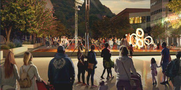 Concept proposé par l'administration Plante pour le réaménagement de l'avenue McGill College, à