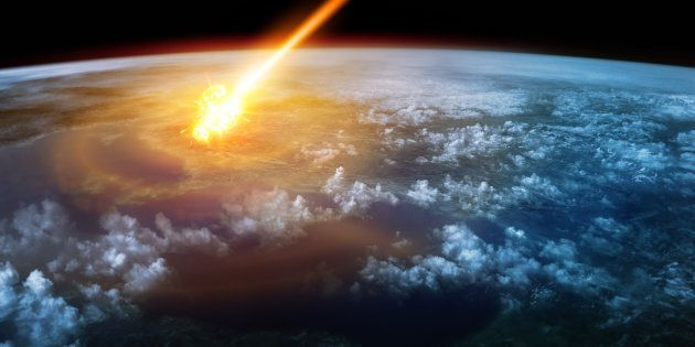 A Meteor glowing as it enters the Earth's