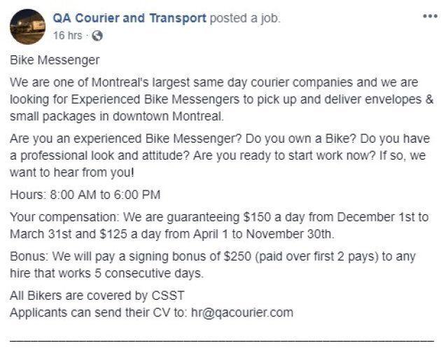 Capture d'écran de la page Facebook de QA