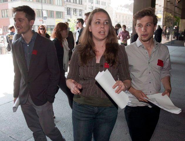 Les reconnaissez-vous? Léo Bureau-Blouin (gauche), Martine Desjardins (centre) et Gabriel Nadeau-Dubois (droite) pendant la grève étudiante de 2012. Seul GND est actuellement député.