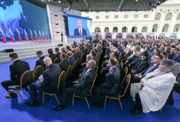 Le discours de Vladimir Poutine était tenu devant toute l'assemblée