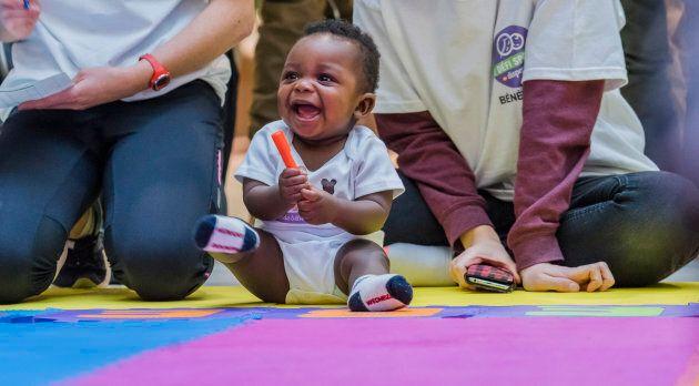 Un jeune athlète qui a participé à la première édition de la Course des bébés du Dispensaire diététique...