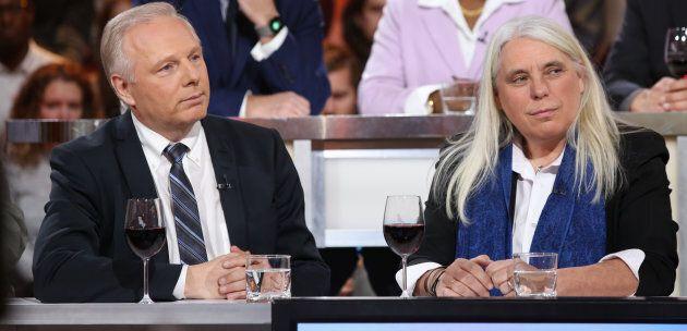 Le chef du Parti québécois, Jean-François Lisée, et la coporte-parole de Québec solidaire, Manon Massé, lors de leur passage à l'émission Tout le monde en parle, en novembre 2016.