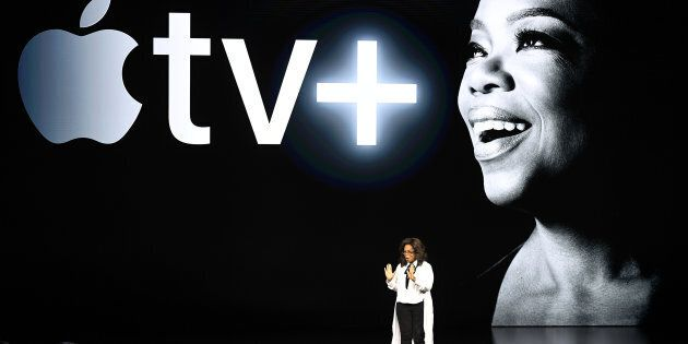 Oprah Winfrey présentant ses nouveaux projets avec Apple TV+,