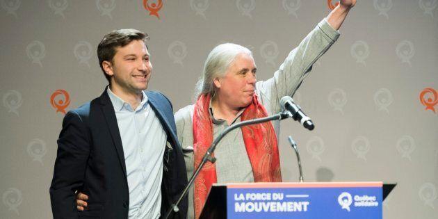Les porte-paroles de Québec solidaire, Gabriel Nadeau-Dubois et Manon Massé, lors du conseil national...
