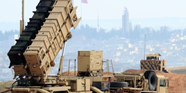 A Patriot missile launcher system is pictured at a Turkish military base in Gaziantep on February 5,...