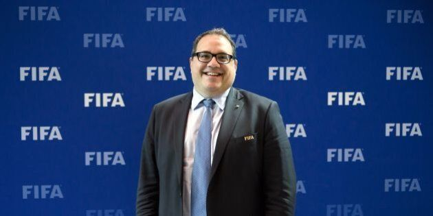 CONCACAF President Victor Montagliani of Canada smiles posing after a meeting of the FIFA Council on...
