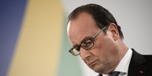 French President Francois Hollande gives a press conference after an Informal European Council meeting...