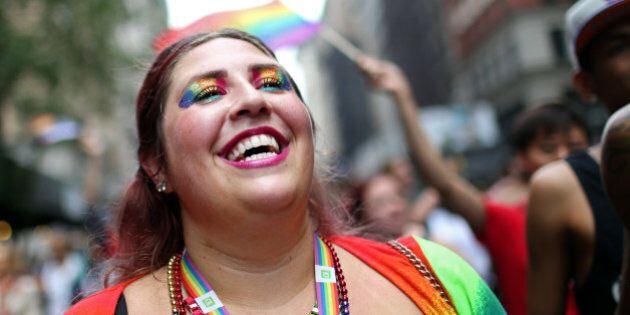 NEW YORK - JUNE 28: A participant marches in the Gay Pride Parade on June 28, 2015 in New York City....