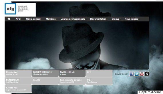 Anonymous s'empare du site de l'Association des firmes de génie-conseil du Québec