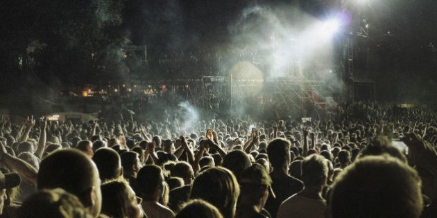 Music concert and crowd. Shot at 1600 iso, grainy…. still print very