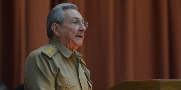 Embargoed until July 8, 2016 - 23:30 GMT / Cuban President Raul Castro gives a speech during the First...