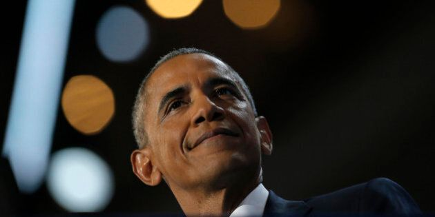 U.S. President Barack Obama speaks on the third night of the 2016 Democratic National Convention in Philadelphia,...