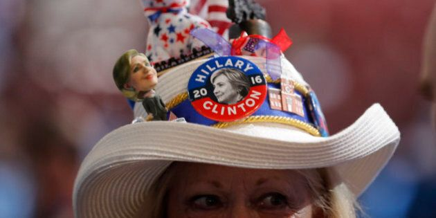 A Hillary Clinton supporter's hat is shown at the Democratic National Convention in Philadelphia, Pennsylvania,...