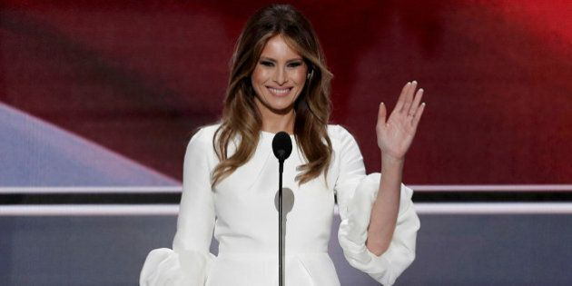 Melania Trump, wife of Republican U.S. presidential candidate Donald Trump, waves as she arrives to speak...