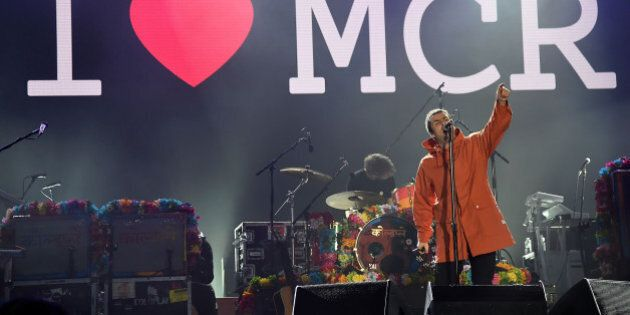 MANCHESTER, ENGLAND - JUNE 04: Liam Gallagher performs on stage during the One Love Manchester Benefit...