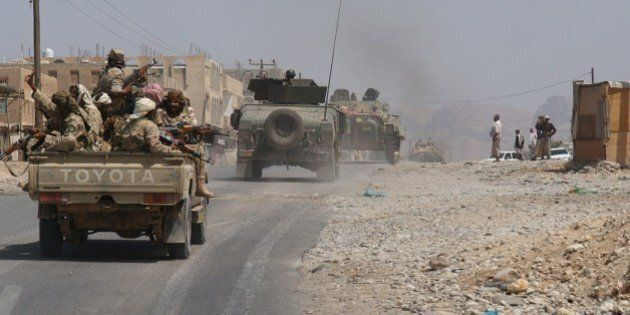 Yemeni troops they take part in an offensive against extremists in the southern province of Shabwa, on...